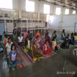 10-03-2019  20 girls participated in Aanapan session at chimboli near Moshi Madar Teresa Samajik sanstha , chimboli near Mosh