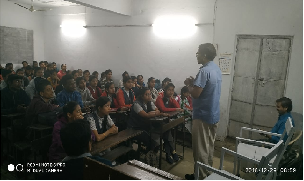29-12-2018 Nrusinha Jr college, Sangavi Pune. About 80 students and 4 teachers attended.