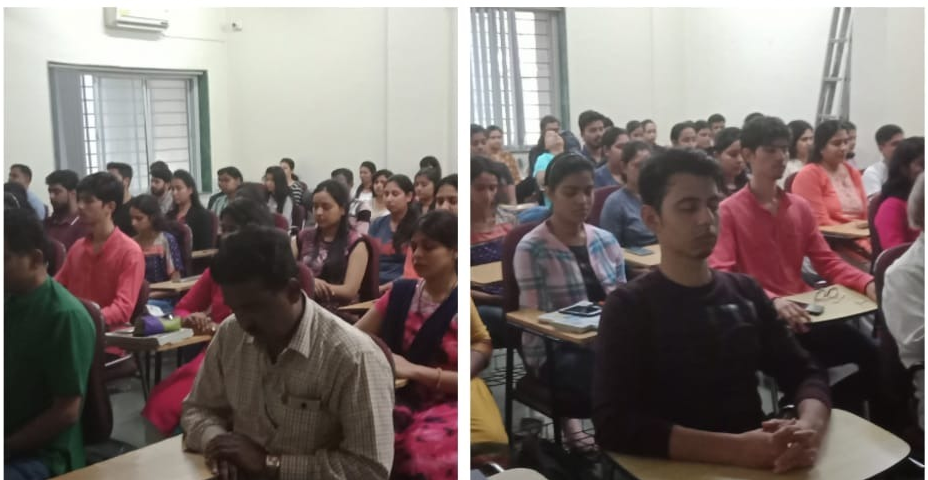 Vipassana  & Anapana  intro session at microbiology Dept, pune university. About 55-60 students & faculty members participated. Was organised by prof. Devpurka