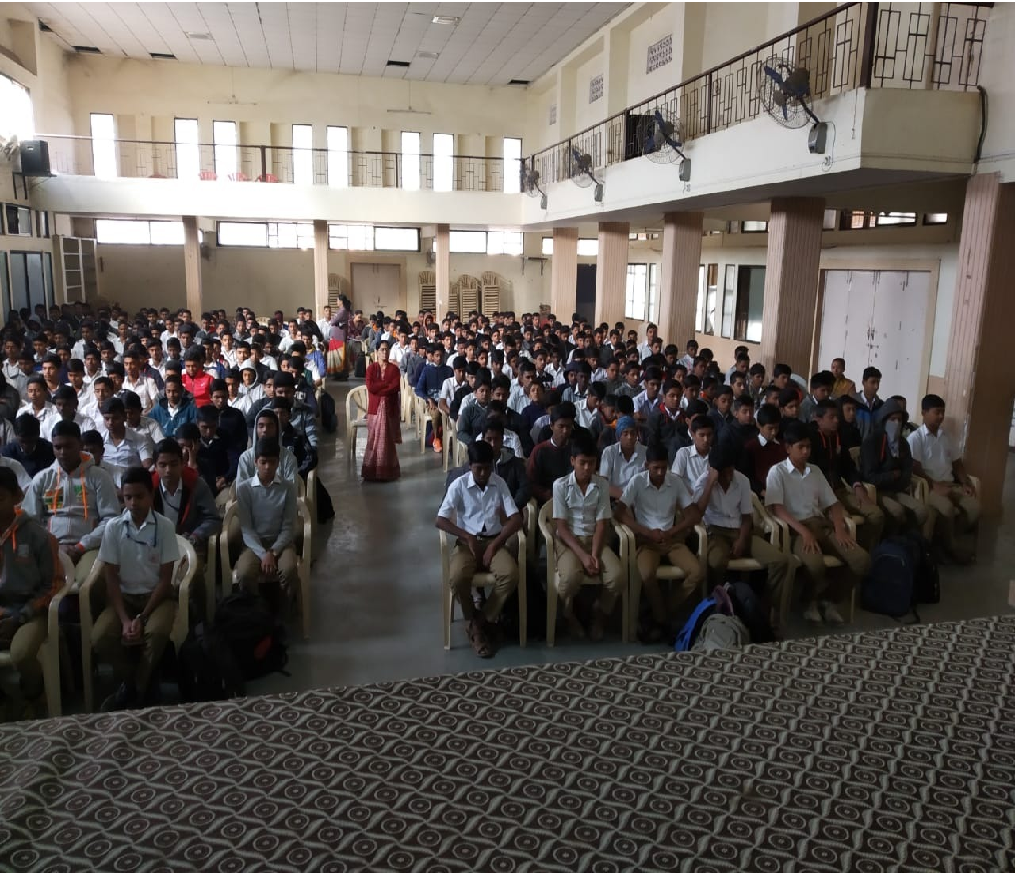 12-01-2019 two Anapana sessions are conducted for 10th standard students at Sadhana Vidyalaya, Hadpasar. Approximately 600+ students have attended the session
