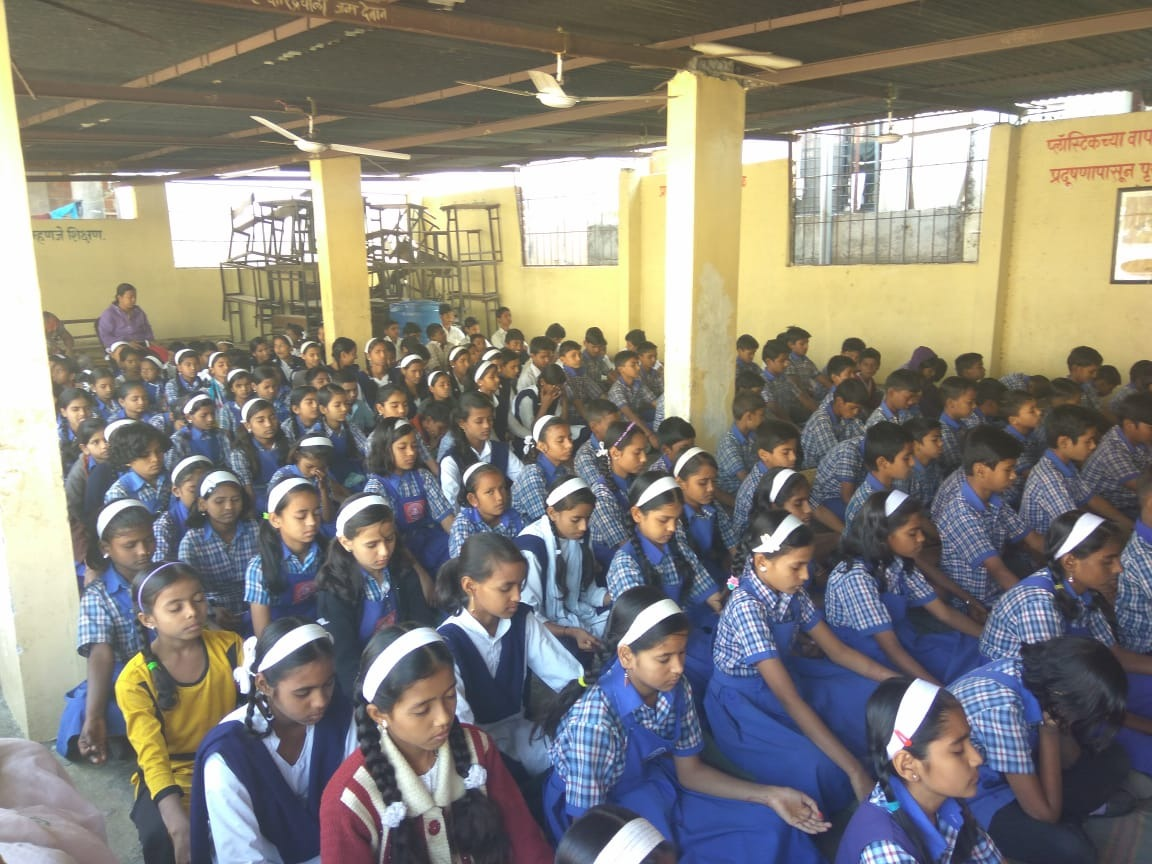 29/2019] Vp Prashant Munrshwar: Aanapan session is conducted for students of 5th-8th standard at Mahtama Pule Prathmic Vidya Mandir, Hadapsar. Approximately 150 students attended the session.